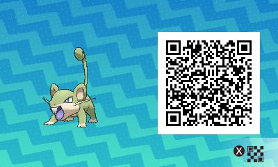 015 Pokemon Sun and Moon Shiny Male Rattata QR Code