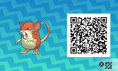 016 Pokemon Sun and Moon Shiny Male Raticate QR Code