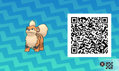 052 Pokemon Sun and Moon Growlithe QR Code