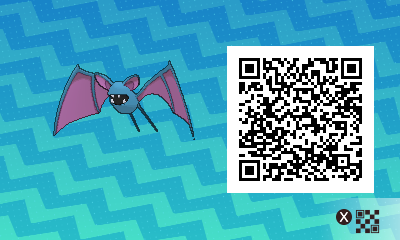 068 Pokemon Sun and Moon Male Zubat QR Code