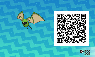 068 Pokemon Sun and Moon Shiny Male Zubat QR Code