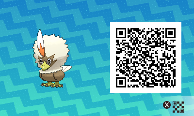 075 Pokemon Sun and Moon Shiny Rufflet QR Code