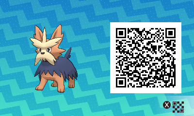121 Pokemon Sun and Moon Herdier QR Code