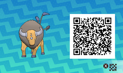 137 Pokemon Sun and Moon Tauros QR Code