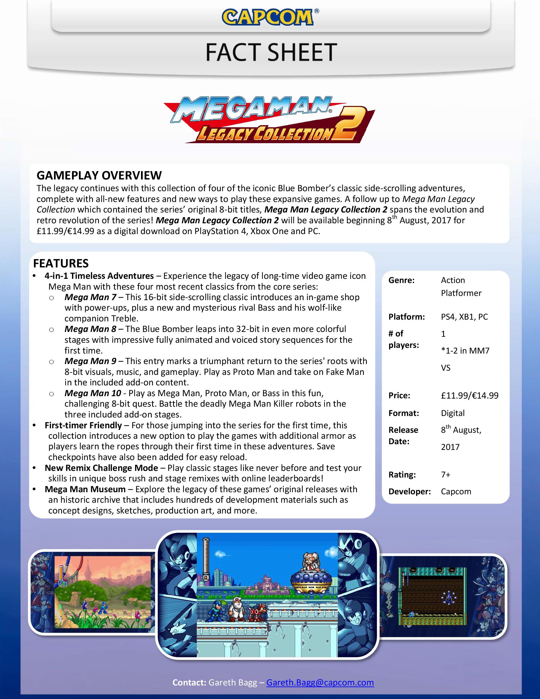 Mega Man Legacy Collection 2 Fact Sheet