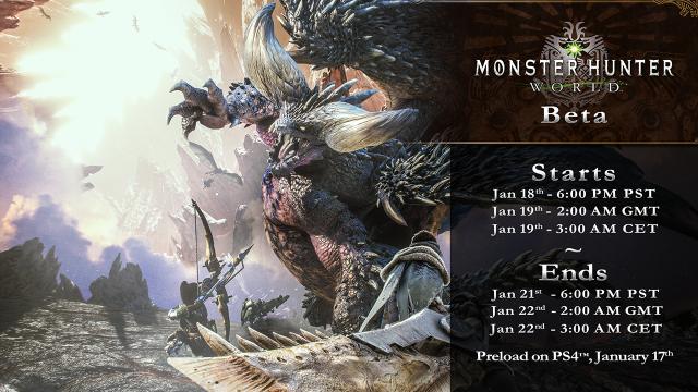 Monster Hunter World Final Beta Timings