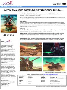 Metal Max Xeno Press Release
