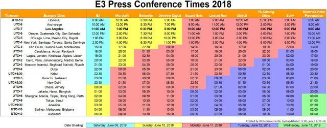 E3 2018 Press Conference Schedule