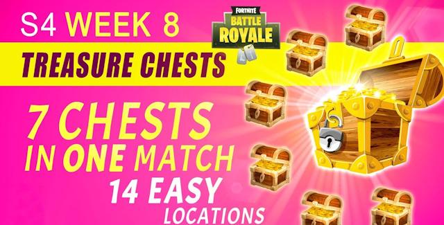 Fortnite Season 4 Week 8 Challenges Treasure Map Chests Locations