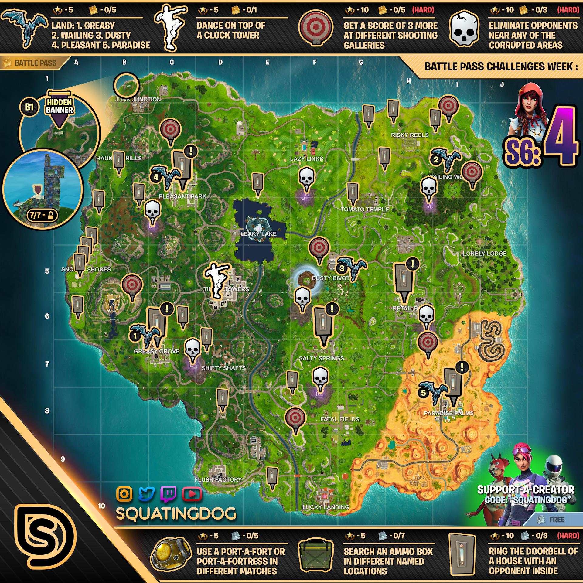 Fortnite Season 6 Week 4 Challenges Map