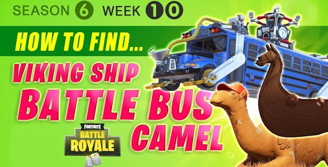 Fortnite Season 6 Week 10 Challenges: Battle Star Treasure Map, Viking Ship, Camel & Crashed Battle Bus Locations Guide