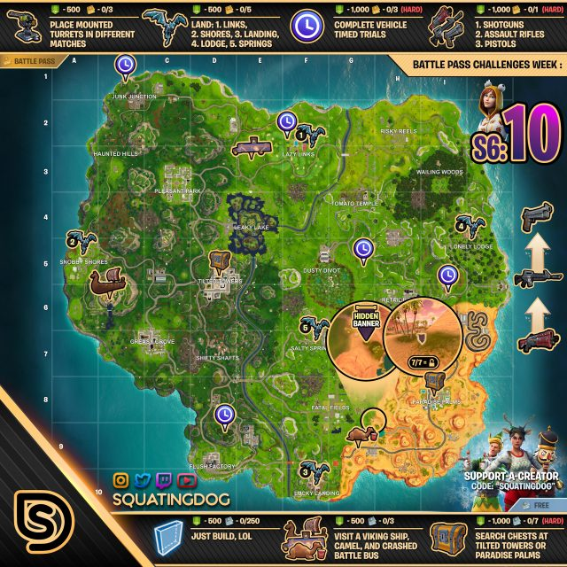 Fortnite Season 6 Week 10 Challenges Map