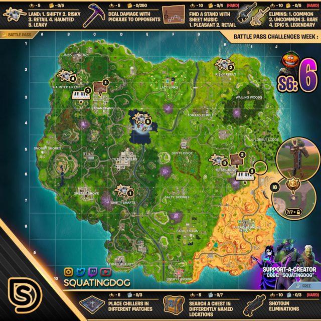 Fortnite Season 6 Week 6 Challenges Map