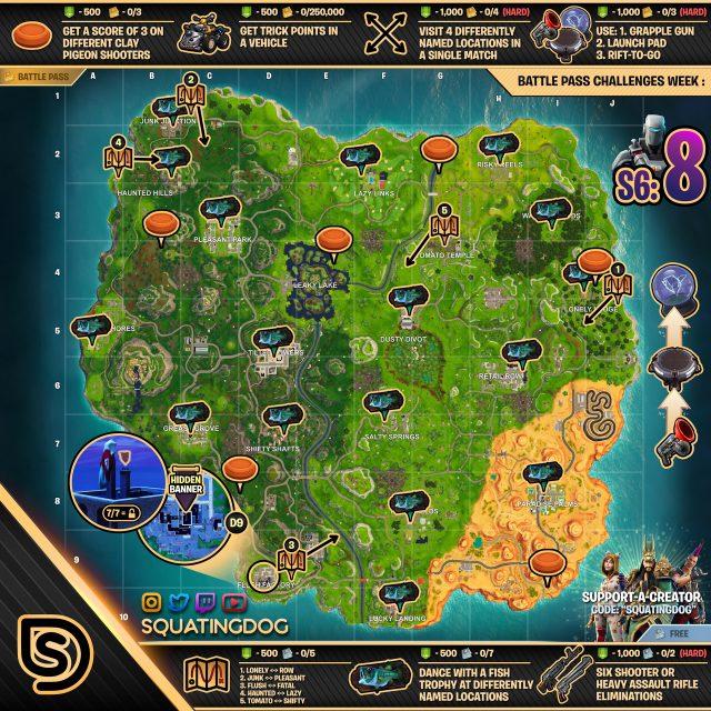 Fortnite Season 6 Week 8 Challenges Map