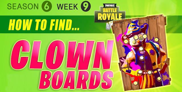 fortnite season 6 week 9 challenges battle star treasure map carnival clown boards mushrooms locations guide - fortnite carnival locations