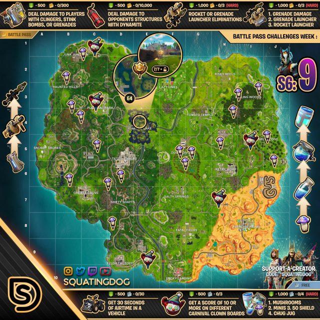 Fortnite Season 6 Week 9 Challenges Map