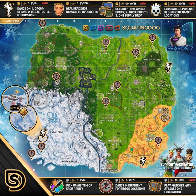 Fortnite Season 7 Week 1 Challenges Map