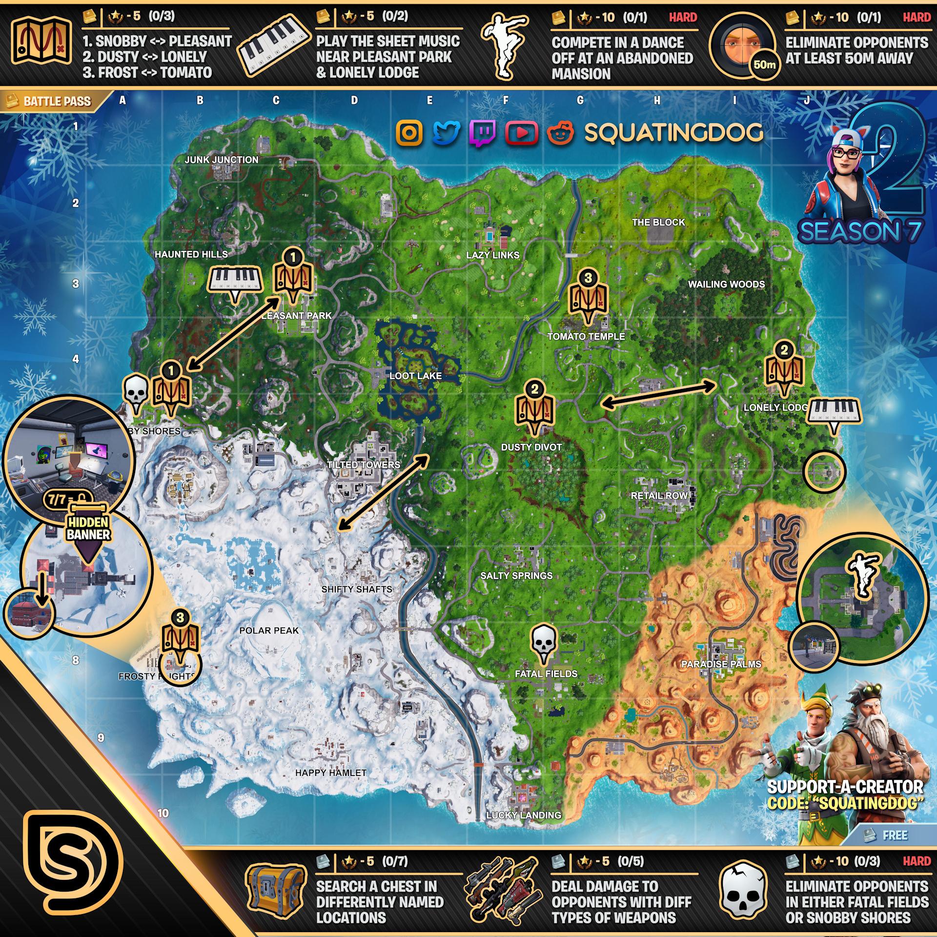 Fortnite Season 7 Week 2 Challenges Map
