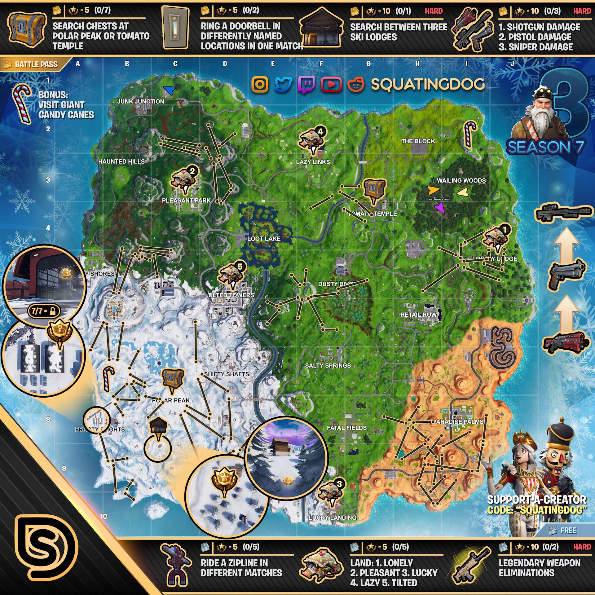 Fortnite Season 7 Week 3 Challenges Map