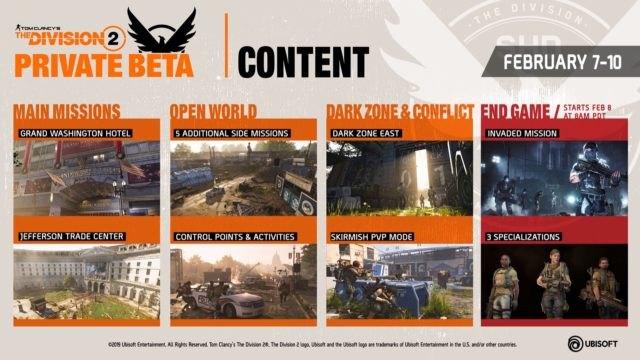 The Division 2 Private Beta Content