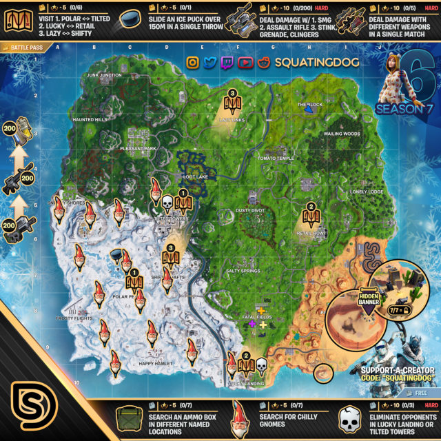 Fortnite Season 7 Week 6 Challenges Map