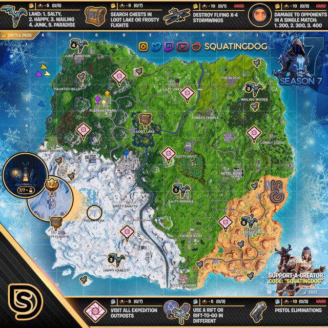 Fortnite Season 7 Week 7 Challenges Battle Star Treasure Map