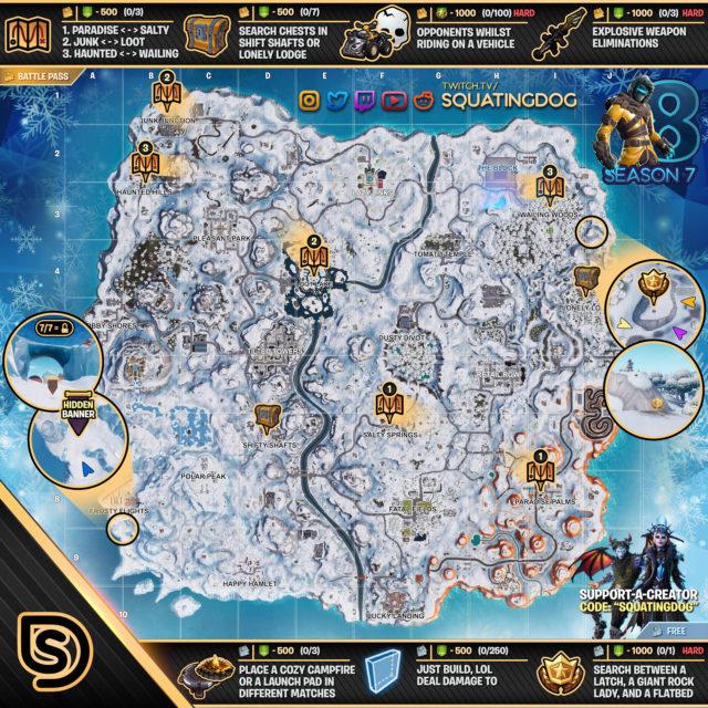 Fortnite Season 7 Week 8 Challenges Battle Star Treasure Map