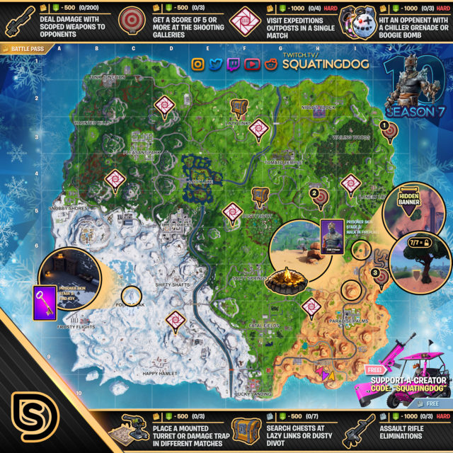 Fortnite Season 7 Week 10 Challenges Map