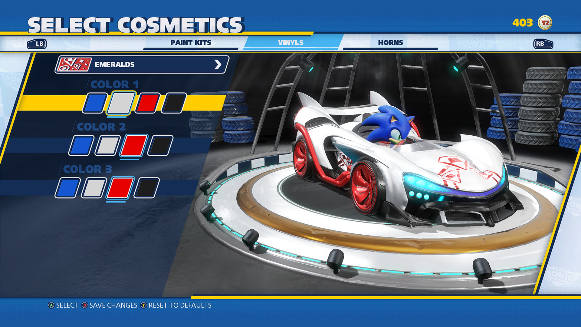 Team Sonic Racing Customization Screen 1