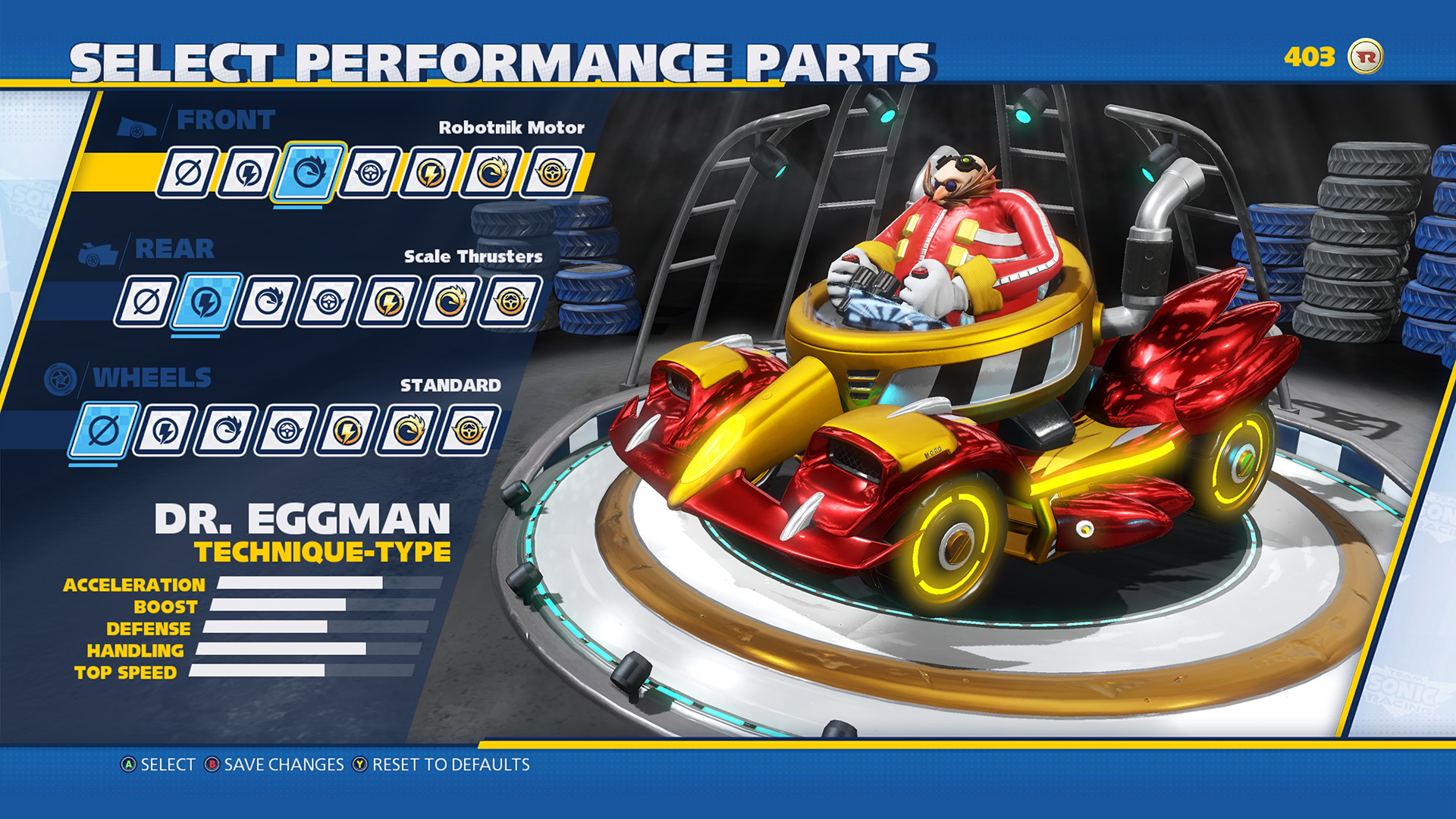 Team Sonic Racing Customization Screen 3