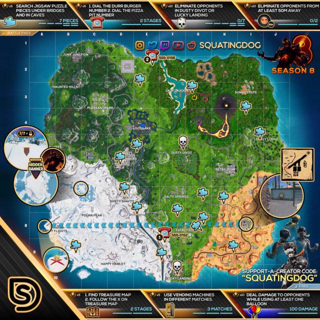 Fortnite Season 8 Week 8 Challenges Map
