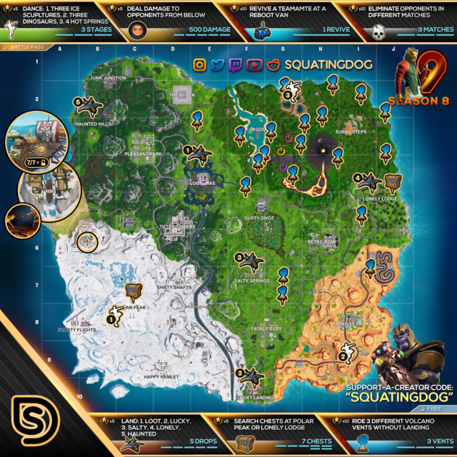 Fortnite Season 8 Week 9 Challenges Map