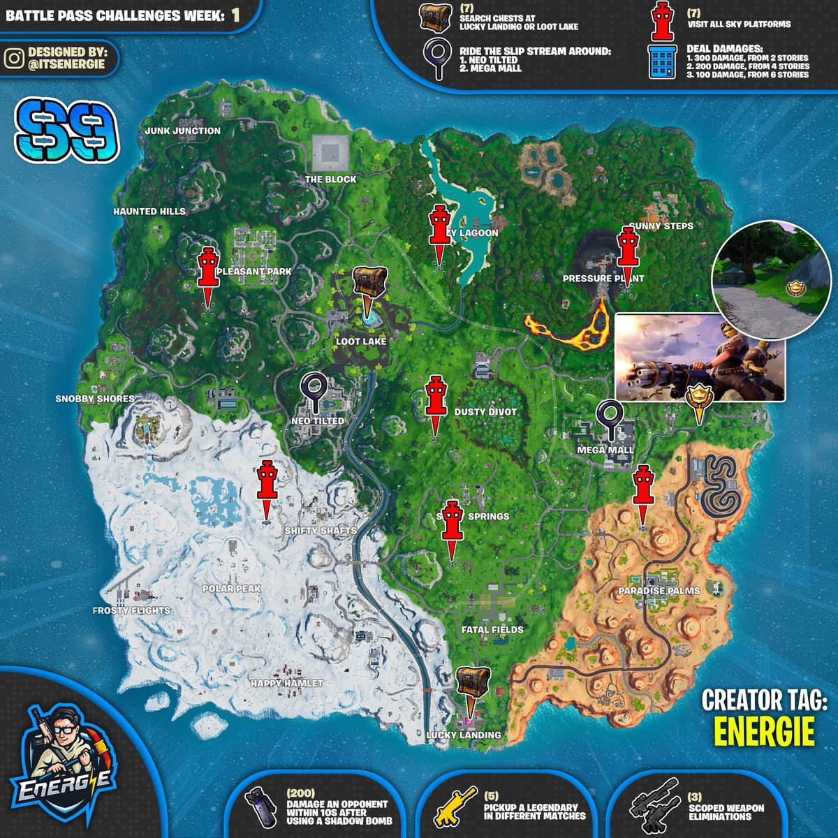 Fortnite Season 9 Week 1 Challenges Map