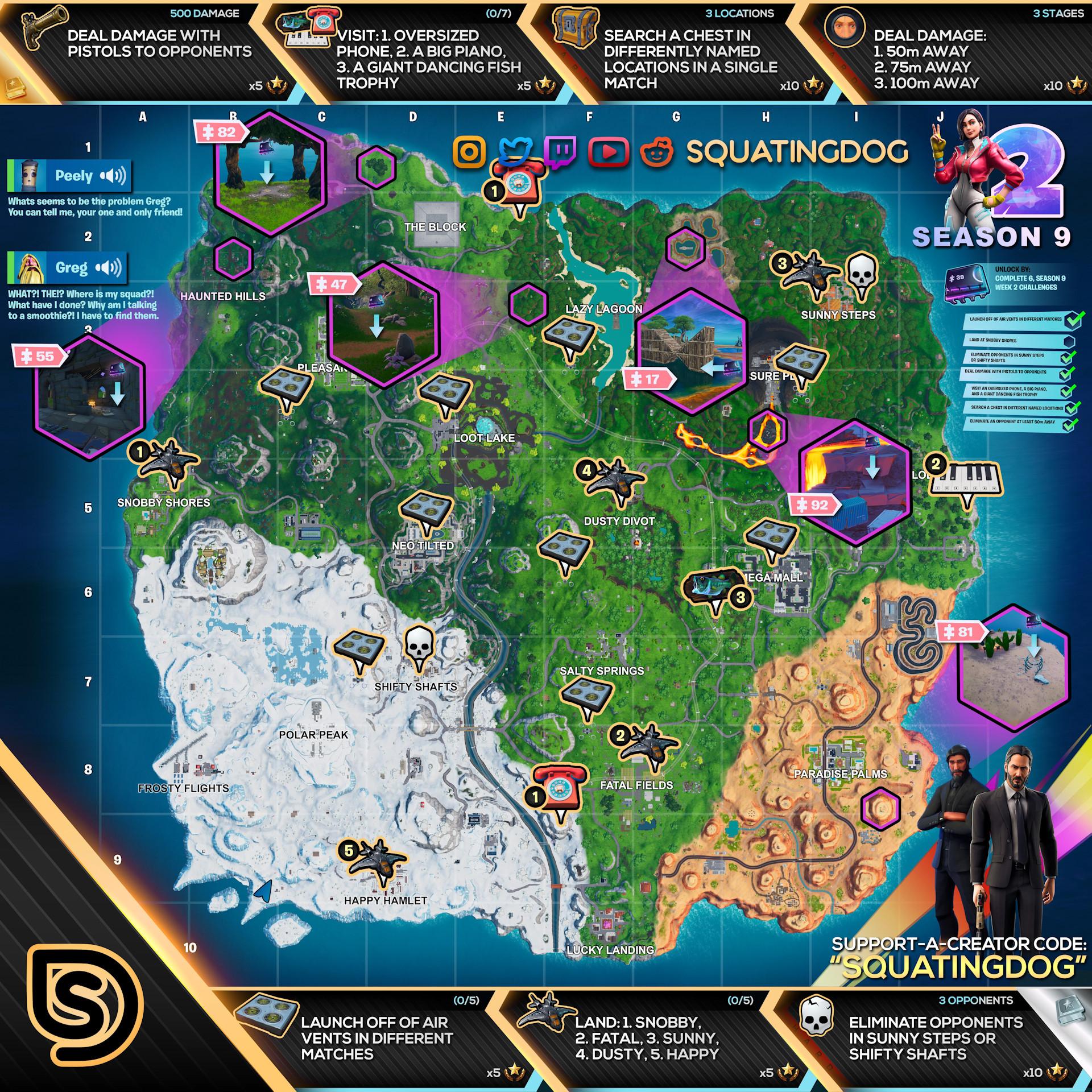 Fortnite Season 9 Week 2 Challenges Map