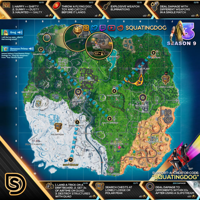 Fortnite Season 9 Week 3 Challenges Map