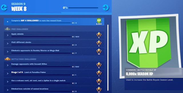 Fortnite Season 9 Week 8 Challenges Cheat Sheet