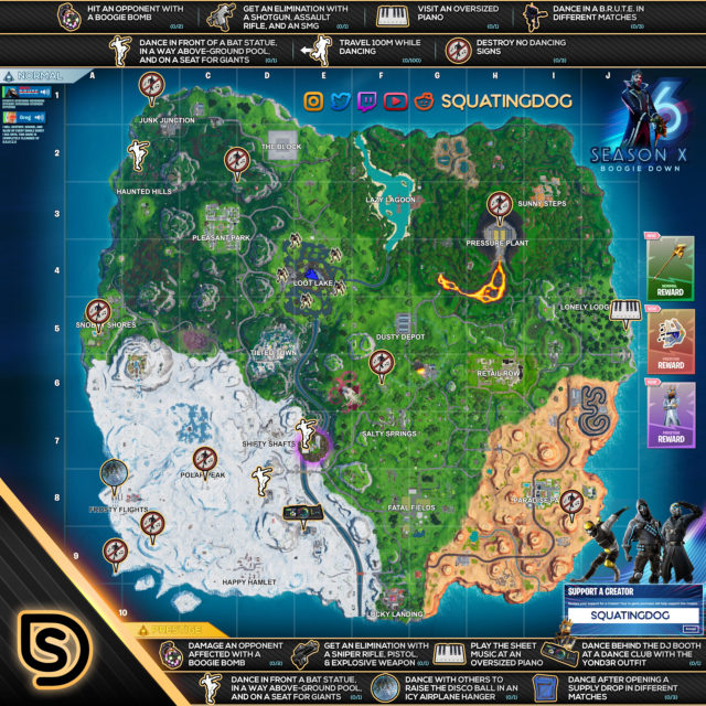 Fortnite Season 10 Week 6 Challenges Cheat Sheet