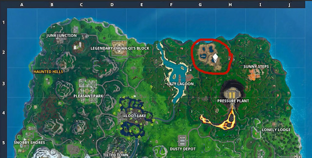 Fortnite Season X Week 8 Battle Star Map Location