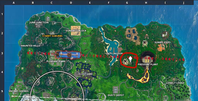 Fortnite Season X Week 9 Battle Star Map Location