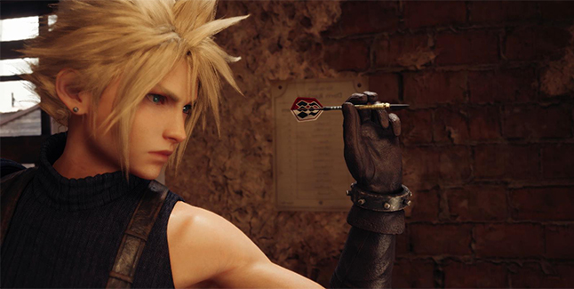 Final Fantasy VII Remake Cloud Playing Darts