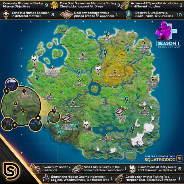 Fortnite Chapter 2 Season 1 Rippley VS Sludge Challenges Cheat Sheet