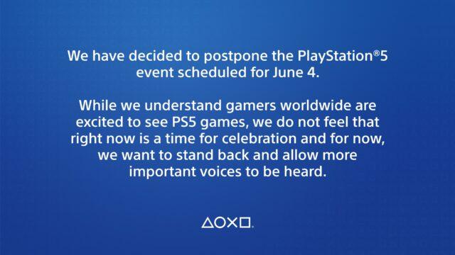 June 4 PS5 Event Postponed