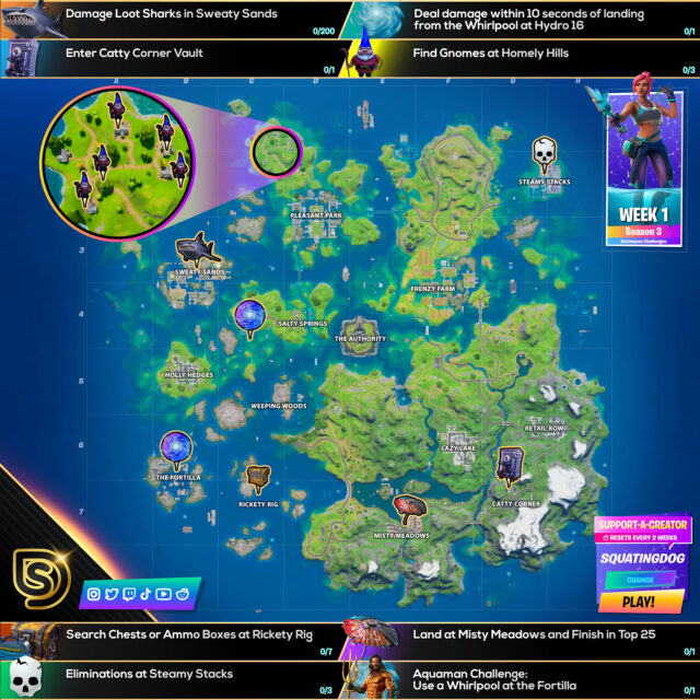 Fortnite Chapter 2 Season 3 Splash Down Challenges Cheat Sheet
