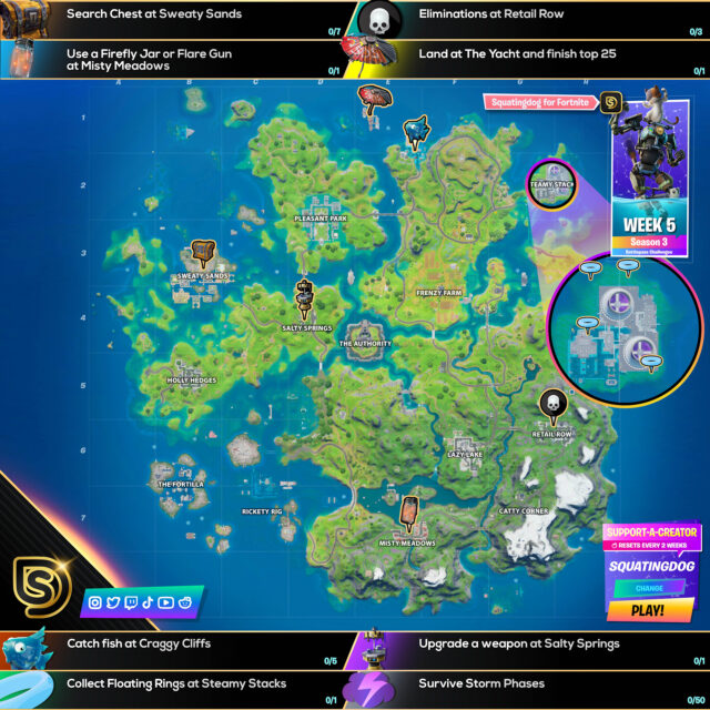 Fortnite Chapter 2 Season 3 Week 5 Challenges Cheat Sheet