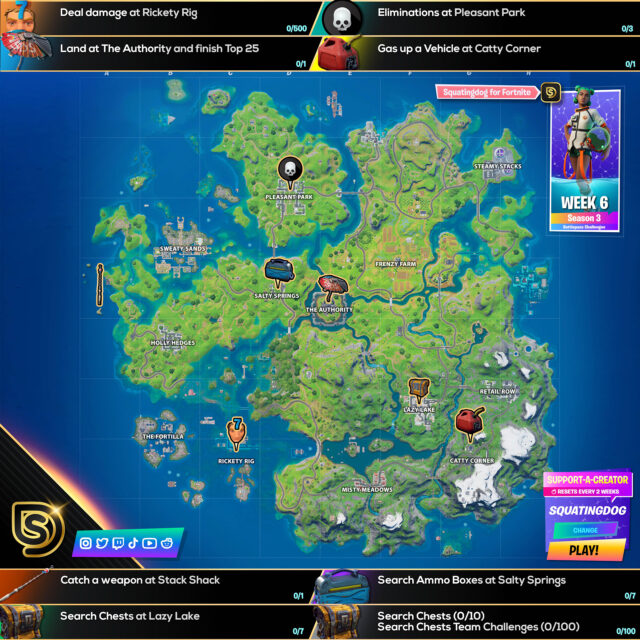 Fortnite Chapter 2 Season 3 Week 6 Challenges Cheat Sheet