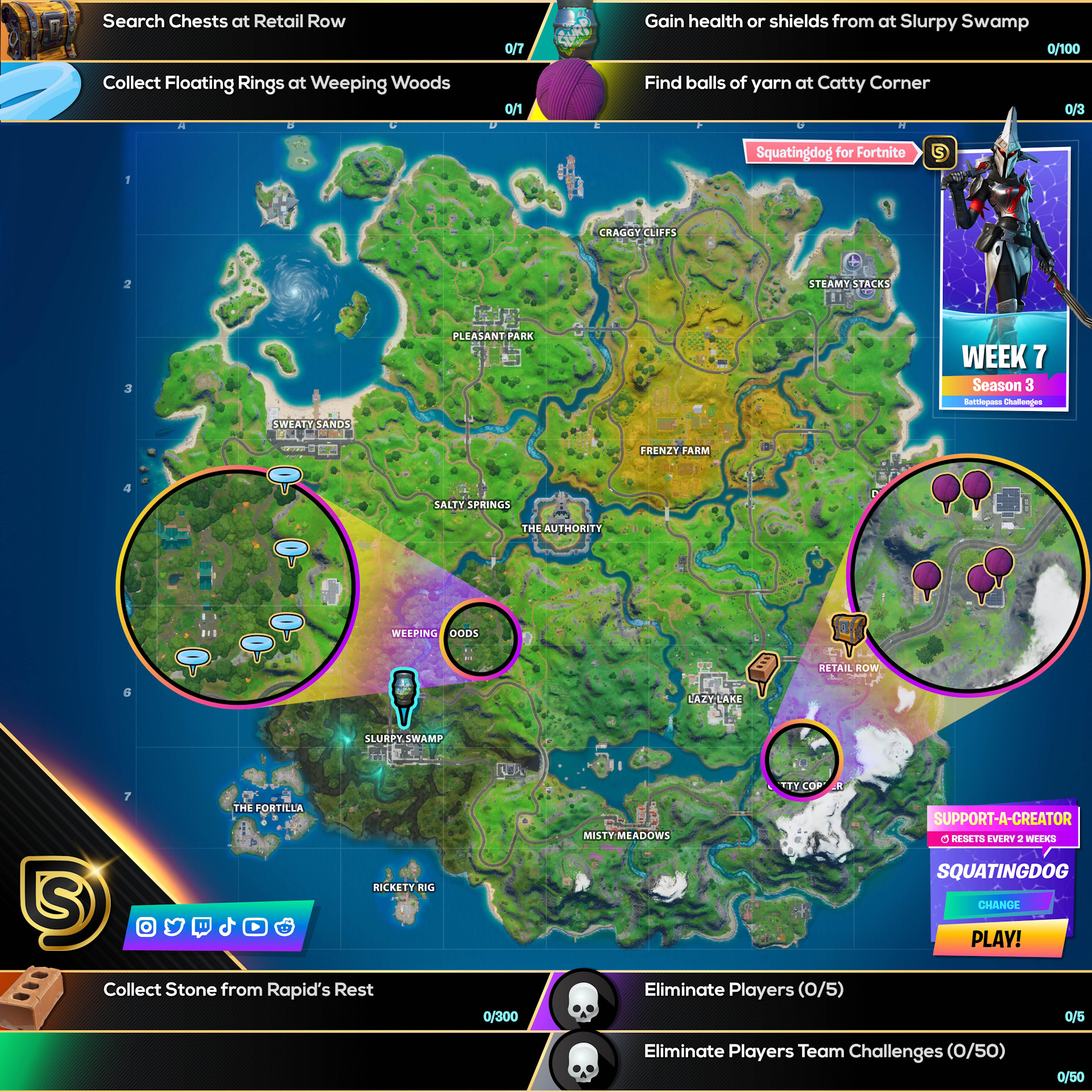 Fortnite Chapter 2 Season 3 Week 7 Challenges Cheat Sheet
