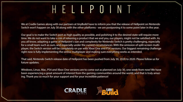 Hellpoint for Switch Delayed to Later in 2020