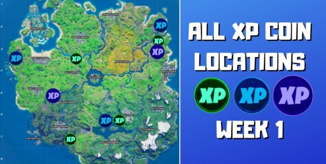 Fortnite Chapter 2 Season 4 Week 1 XP Coins Map Locations Guide