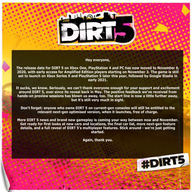 DIRT 5 Delayed to November 6