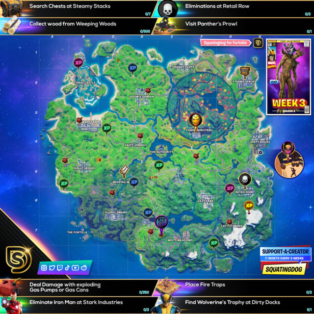 Fortnite Chapter 2 Season 4 Week 3 Challenges Cheat Sheet